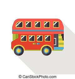 バス, 交通機関, 平ら, アイコン