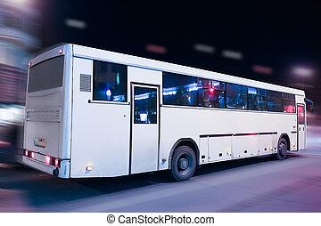 バス, 前進する, ∥, 夜, 都市