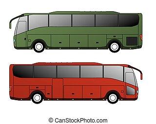 バス, 単一, デザイン, 観光客, 車軸