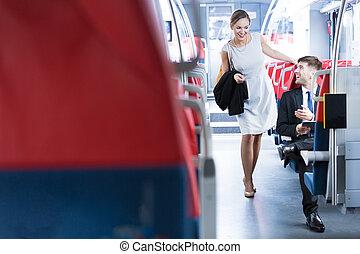 バス, 女, 人