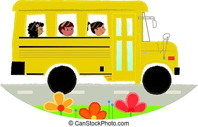 バス, 学校, アイコン
