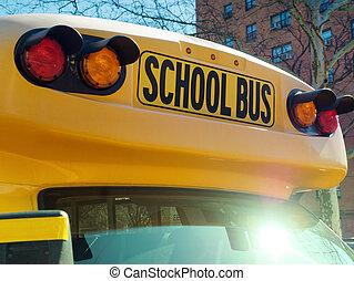 バス, 学校, クローズアップ, 印