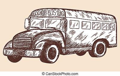 バス, 学校, スケッチ