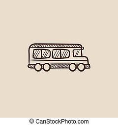 バス, 学校, スケッチ, icon.