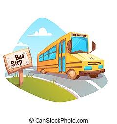 バス, 学校, ベクトル, 背景, イラスト