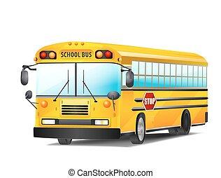 バス, 学校, ベクトル, white., イラスト