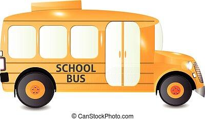 バス, 学校, 光景, 側, 隔離された