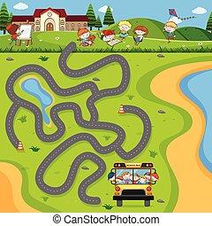 バス, 学校, 困惑, ゲーム, 迷路