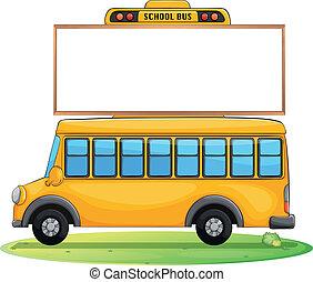 バス, 学校, 板