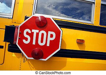 バス, 学校, 止まれ