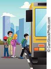 バス, 学校, 止まれ, 子供, イラスト
