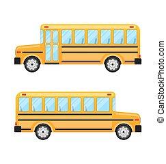 バス, 学校, 白, 隔離された, 背景
