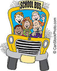 バス, 学校, 背中
