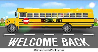 バス, 学校, 行く, 背部道