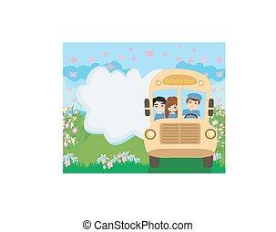 バス, 学童, 幸せ
