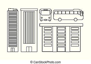 バス, 建物, 図画, スケッチ
