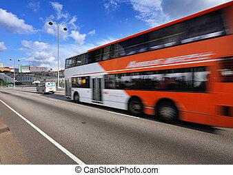 バス, 引っ越し, 速い, ハイウェー
