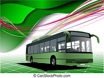 バス, 抽象的, イラスト, ベクトル, 緑の背景, images.