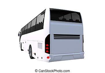 バス, 旅行, 後部, イラスト, 光景