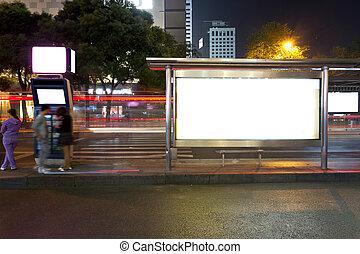 バス, 止まれ, 夜