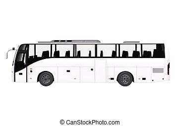バス, 白, 光景, 側, 隔離された