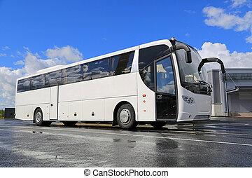 バス, 白, 待つ, 乗客