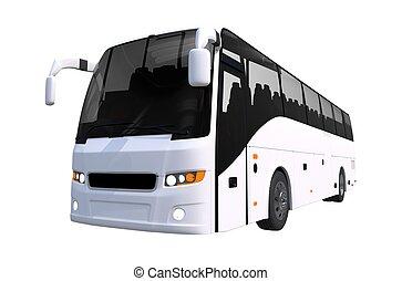 バス, 白, 旅行, 隔離された