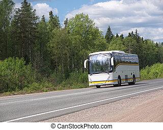 バス, 白, 観光客, ハイウェー, 国