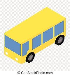バス, 等大, 3d, アイコン