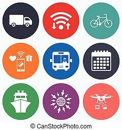 バス, 自転車, icons., ship., トラック, 輸送