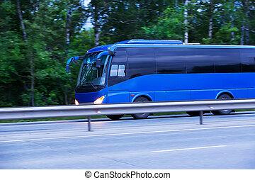 バス, 行く, ハイウェー