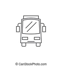 バス, 隔離された, 前部, 背景, アイコン, 白, 光景