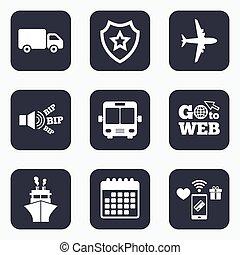 バス, icons., ship., 飛行機, トラック, 輸送