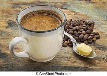 バター, コーヒー, でぶ, カップ