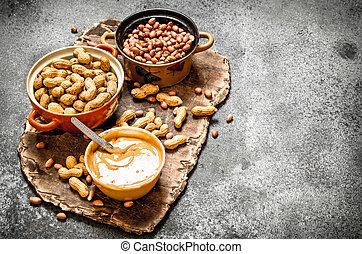バター, ピーナッツ, bowl., ナット