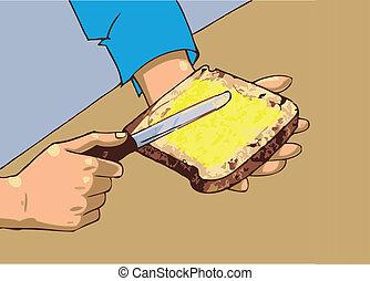 バター, 人, 適用, bread