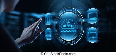バックアップ, ビジネス, インターネット, 貯蔵, 概念, 技術, データ