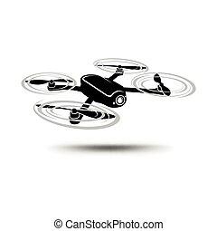 バックグラウンド。, ∥あるいは∥, 隔離された, icon., カメラ, 白, quadcopter, 無人機, ...