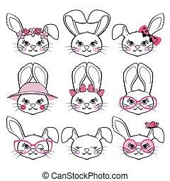バックグラウンド。, かわいい, ウサギ, 白, セット, 隔離された