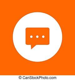 バックグラウンド。, オレンジ, イラスト, アイコン, 白, ベクトル, 円, 対話, 印。