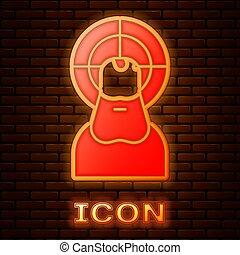 バックグラウンド。, キリスト, ベクトル, れんが, イラスト, イエス・キリスト, アイコン, 壁, 隔離された, ネオン, 白熱