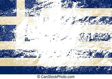 バックグラウンド。, ギリシャ語, グランジ, 旗