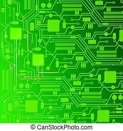 バックグラウンド。, コンピュータ, デザイン, 板, 回路