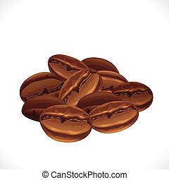 バックグラウンド。, コーヒー, 白い豆, 隔離された