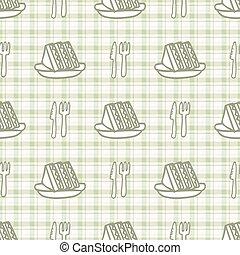 バックグラウンド。, ナイフ, すべて, ギンガム, 台所, seamless, サンドイッチ, vecotr, フォーク, かわいい, 上に, 国内, pattern., 緑, print., cutlery, 家, テーブルウェア, 道具, 手, スプーン, 引かれる, decor.
