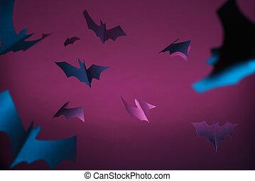 バックグラウンド。, ハロウィーン, コウモリ, イメージ, 青, 紫色