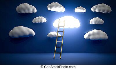 バックグラウンド。, ビジネス, 白熱, 3d, illustration., 金, はしご, achievement...