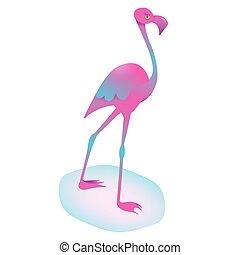 バックグラウンド。, フラミンゴ, かわいい, 隔離された, ベクトル, element., 漫画, animal., 平ら, 装飾, design., トロピカル, bird., エキゾチック, 水分が多い, isolated., 動物園, 青, イラスト, character., ピンク, gradients, 白