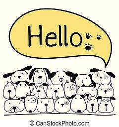 バックグラウンド。, ベクトル, かわいい, 犬, イラスト, 発言権, hello.