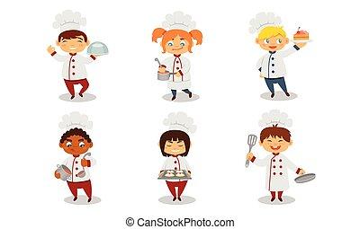 バックグラウンド。, ベクトル, イラスト, 子供, ユニフォーム, cook., 白